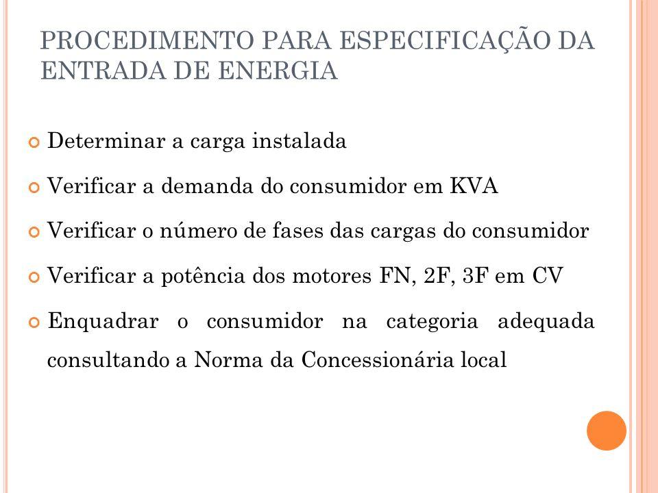PROCEDIMENTO PARA ESPECIFICAÇÃO DA ENTRADA DE ENERGIA