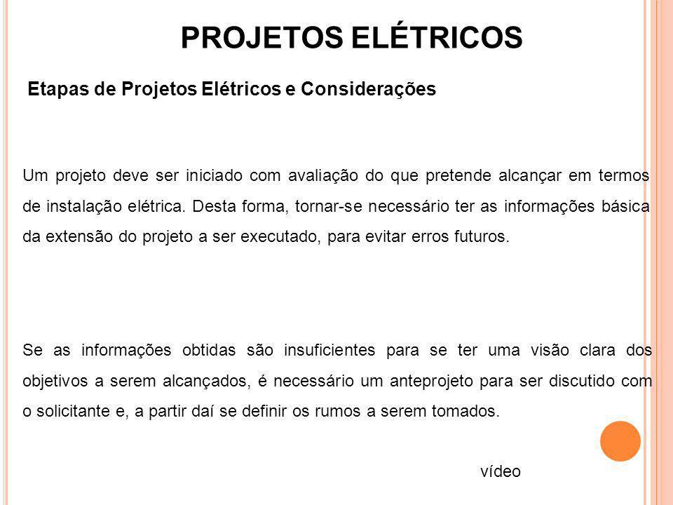 PROJETOS ELÉTRICOS Etapas de Projetos Elétricos e Considerações