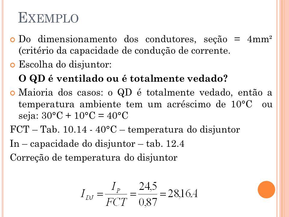 Exemplo Do dimensionamento dos condutores, seção = 4mm² (critério da capacidade de condução de corrente.