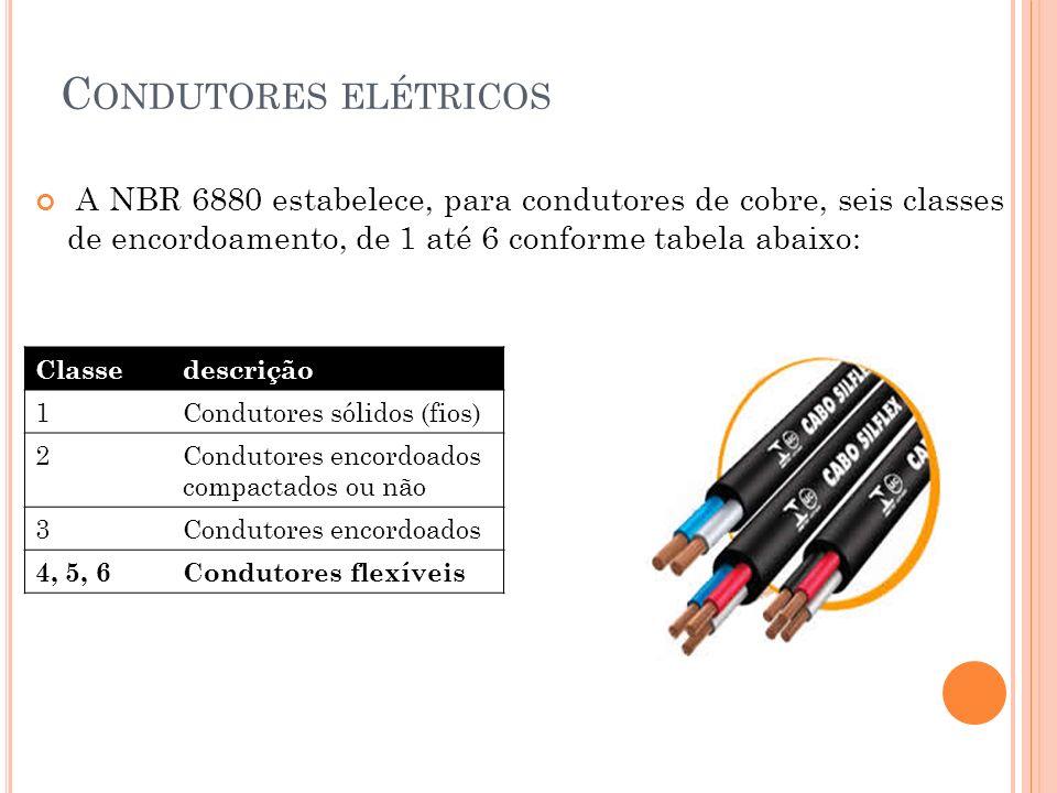Condutores elétricosA NBR 6880 estabelece, para condutores de cobre, seis classes de encordoamento, de 1 até 6 conforme tabela abaixo: