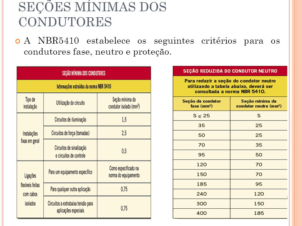 SEÇÕES MÍNIMAS DOS CONDUTORES