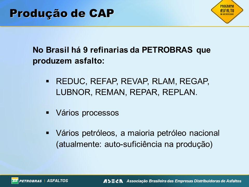 Produção de CAP No Brasil há 9 refinarias da PETROBRAS que produzem asfalto: REDUC, REFAP, REVAP, RLAM, REGAP, LUBNOR, REMAN, REPAR, REPLAN.