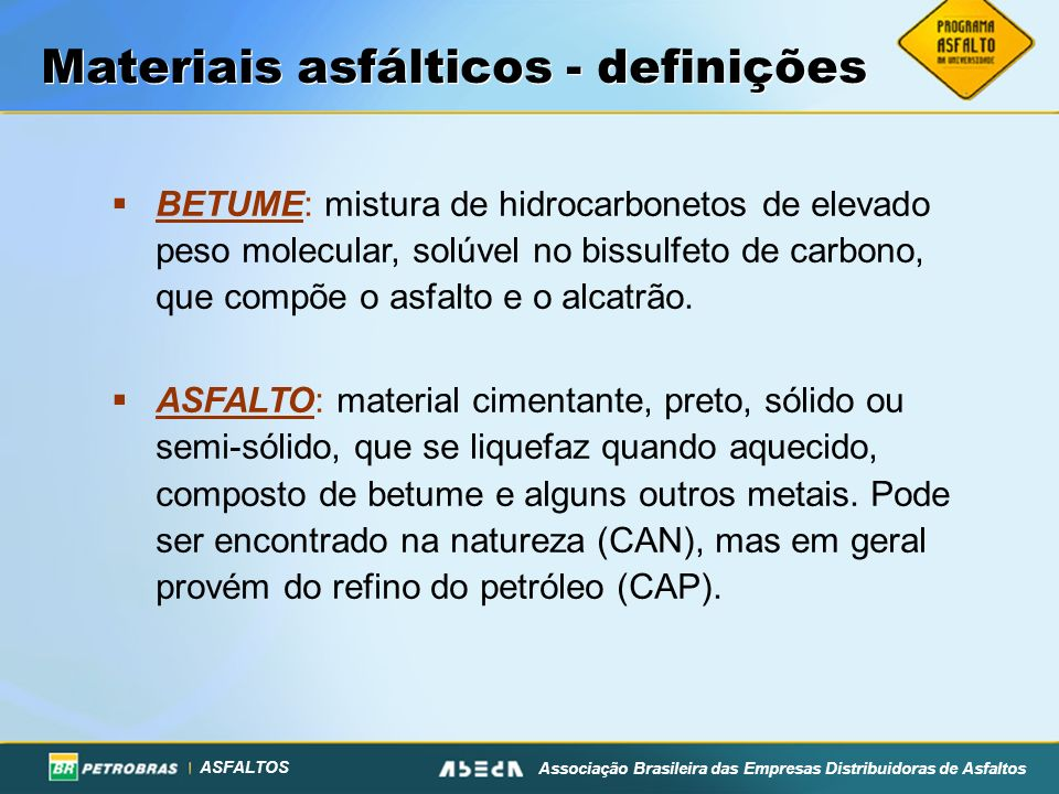 Materiais asfálticos - definições