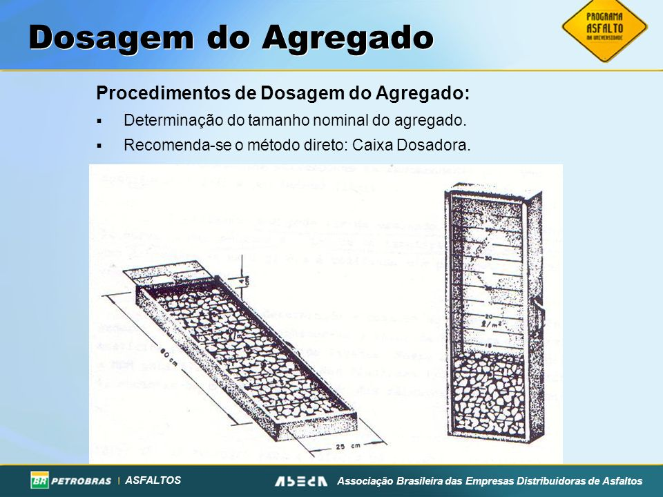 Dosagem do Agregado Procedimentos de Dosagem do Agregado: