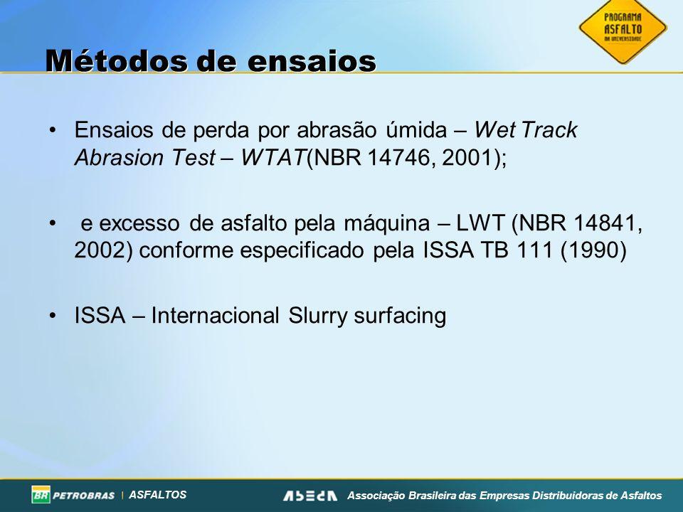 Métodos de ensaios Ensaios de perda por abrasão úmida – Wet Track Abrasion Test – WTAT(NBR 14746, 2001);