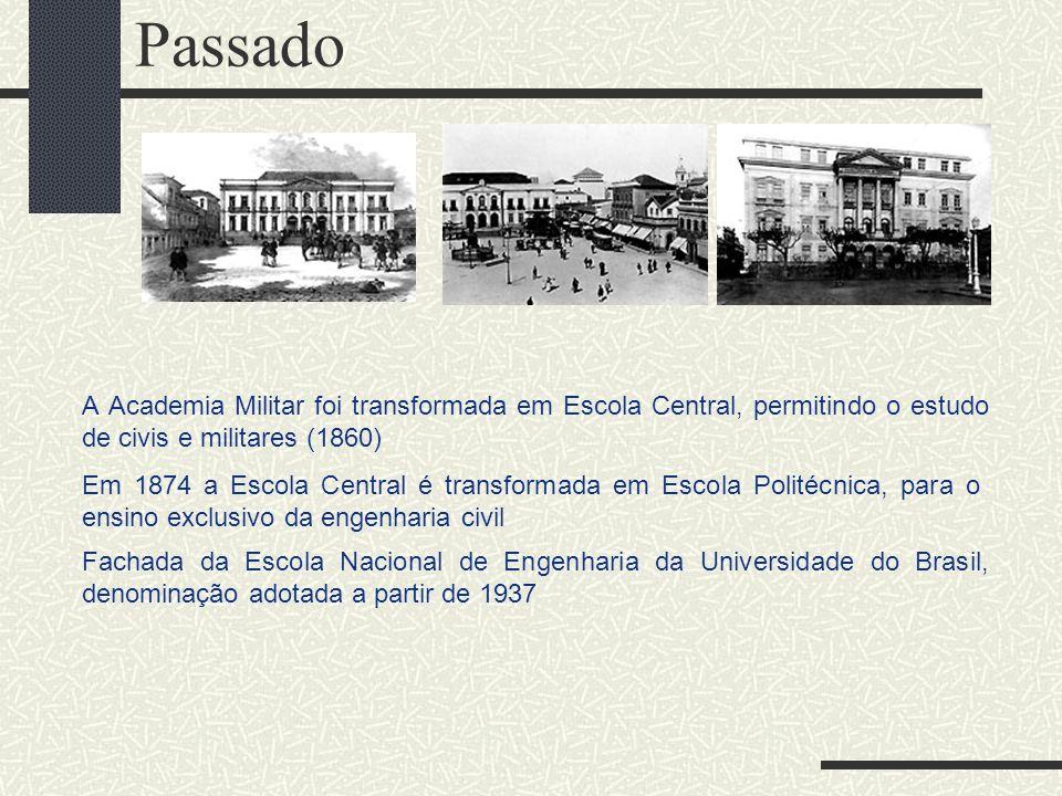 Passado A Academia Militar foi transformada em Escola Central, permitindo o estudo de civis e militares (1860)