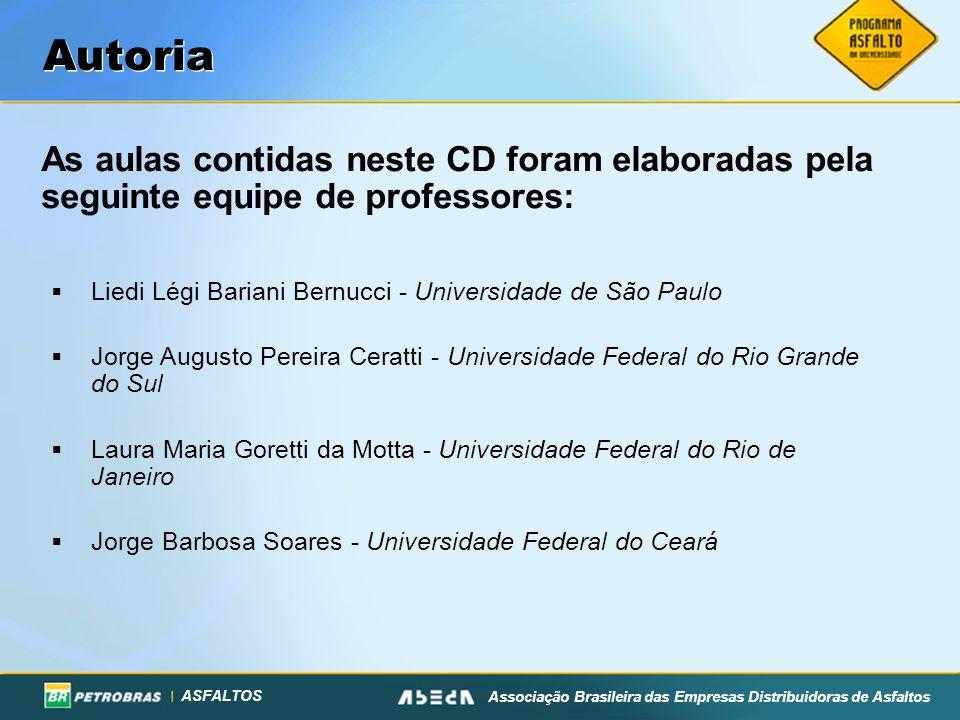 Autoria As aulas contidas neste CD foram elaboradas pela seguinte equipe de professores: Liedi Légi Bariani Bernucci - Universidade de São Paulo.