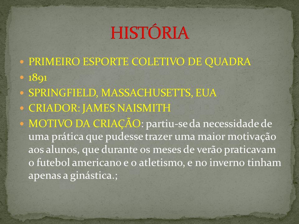 HISTÓRIA PRIMEIRO ESPORTE COLETIVO DE QUADRA 1891
