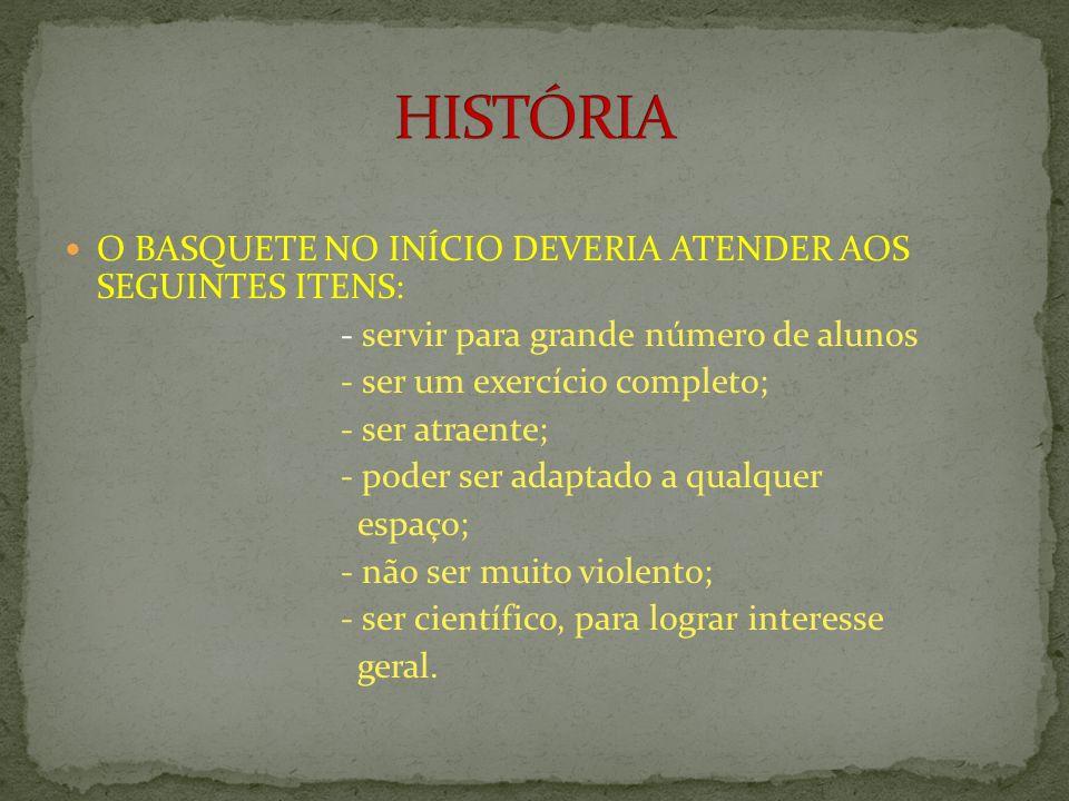 HISTÓRIA O BASQUETE NO INÍCIO DEVERIA ATENDER AOS SEGUINTES ITENS: