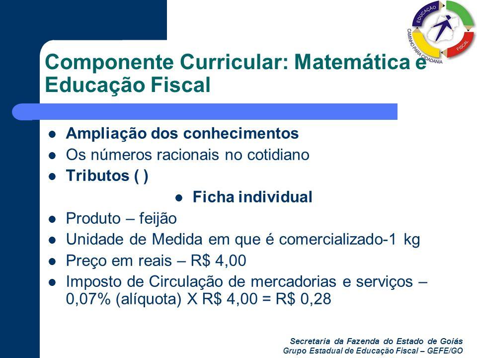 Componente Curricular: Matemática e Educação Fiscal