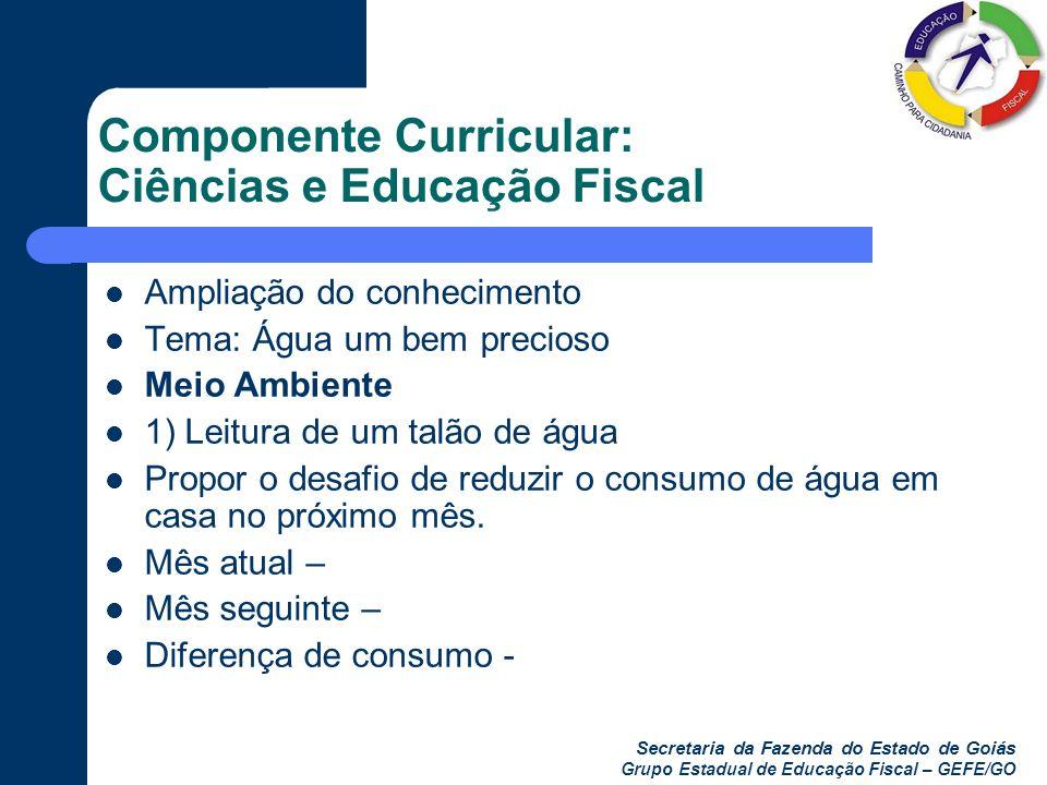 Componente Curricular: Ciências e Educação Fiscal
