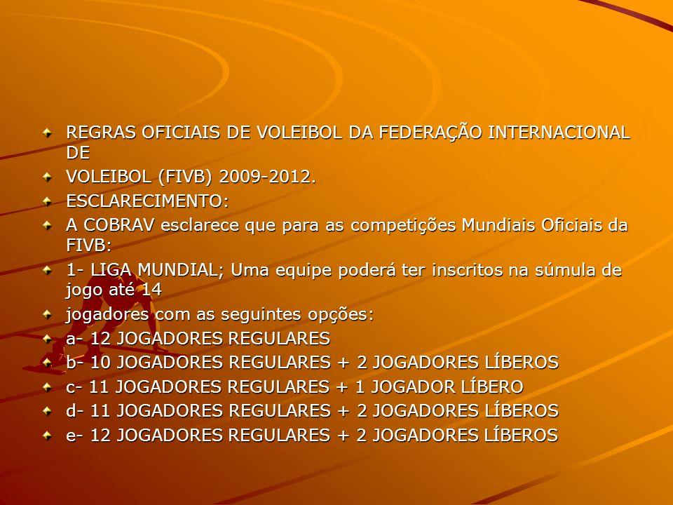 REGRAS OFICIAIS DE VOLEIBOL DA FEDERAÇÃO INTERNACIONAL DE