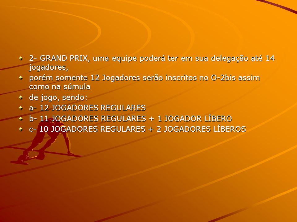 2- GRAND PRIX, uma equipe poderá ter em sua delegação até 14 jogadores,