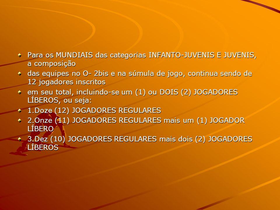 Para os MUNDIAIS das categorias INFANTO-JUVENIS E JUVENIS, a composição