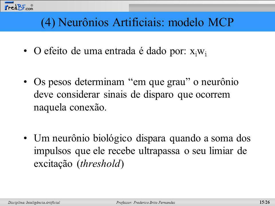 (4) Neurônios Artificiais: modelo MCP