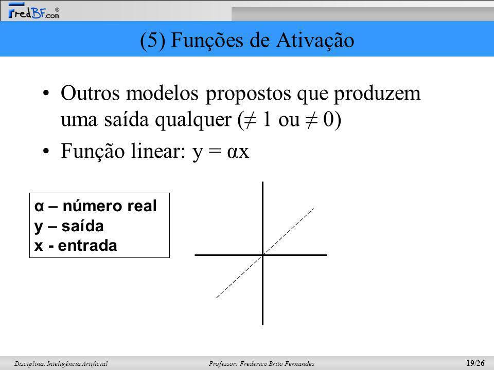 Outros modelos propostos que produzem uma saída qualquer (≠ 1 ou ≠ 0)