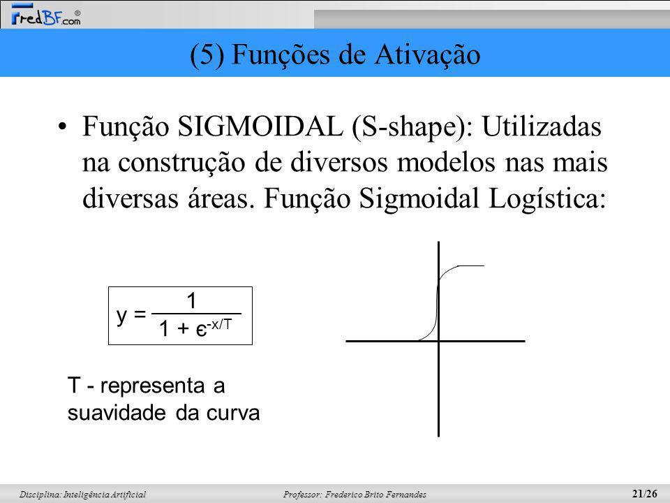 (5) Funções de AtivaçãoFunção SIGMOIDAL (S-shape): Utilizadas na construção de diversos modelos nas mais diversas áreas. Função Sigmoidal Logística: