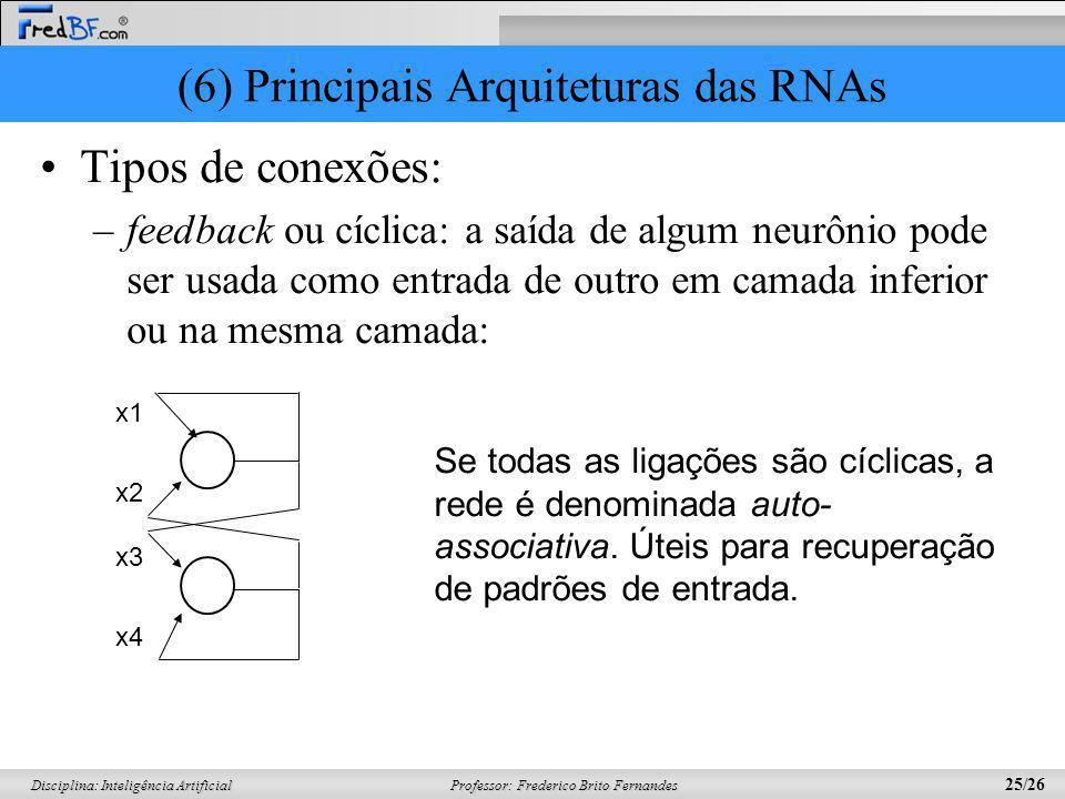 (6) Principais Arquiteturas das RNAs