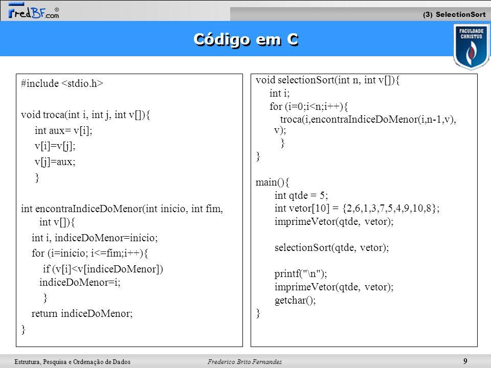 Código em C #include <stdio.h>