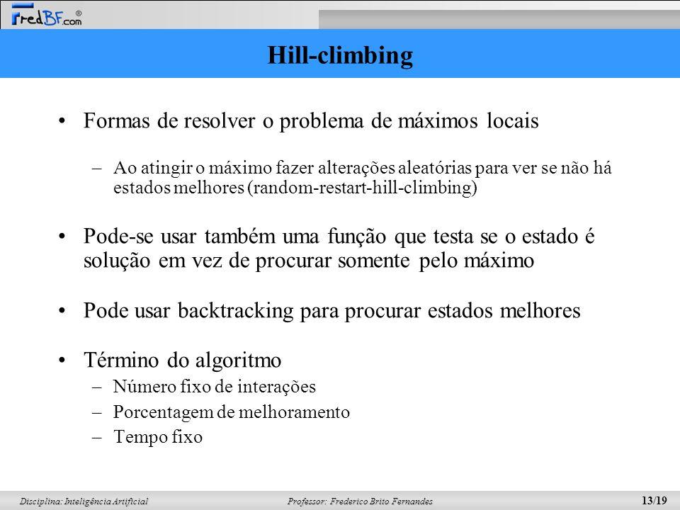 Hill-climbing Formas de resolver o problema de máximos locais