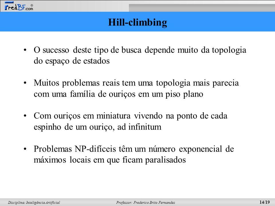 Hill-climbing O sucesso deste tipo de busca depende muito da topologia do espaço de estados.