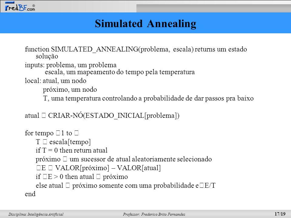 Simulated Annealingfunction SIMULATED_ANNEALING(problema, escala) returns um estado solução.
