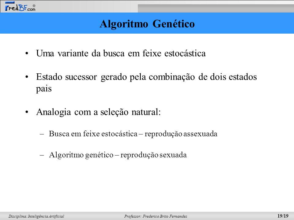 Algoritmo Genético Uma variante da busca em feixe estocástica