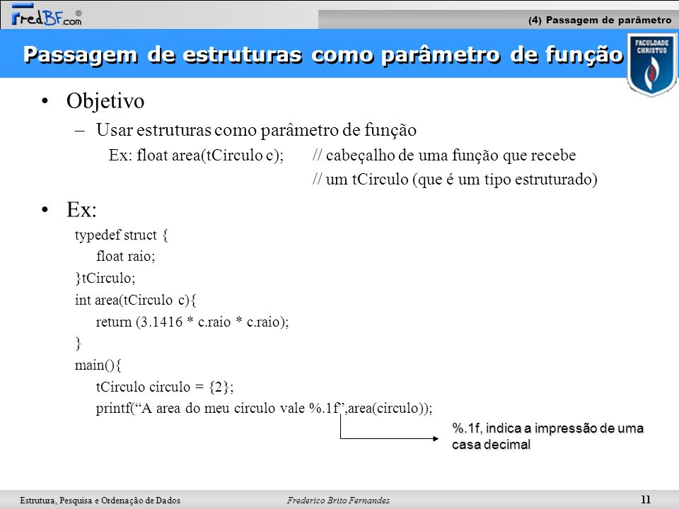 Passagem de estruturas como parâmetro de função