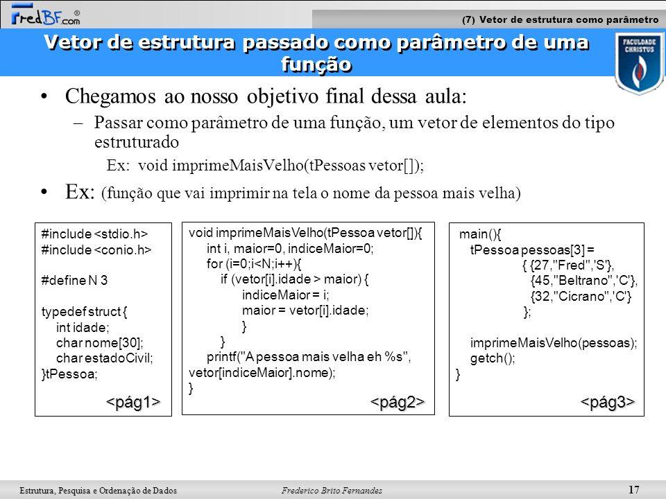 Vetor de estrutura passado como parâmetro de uma função