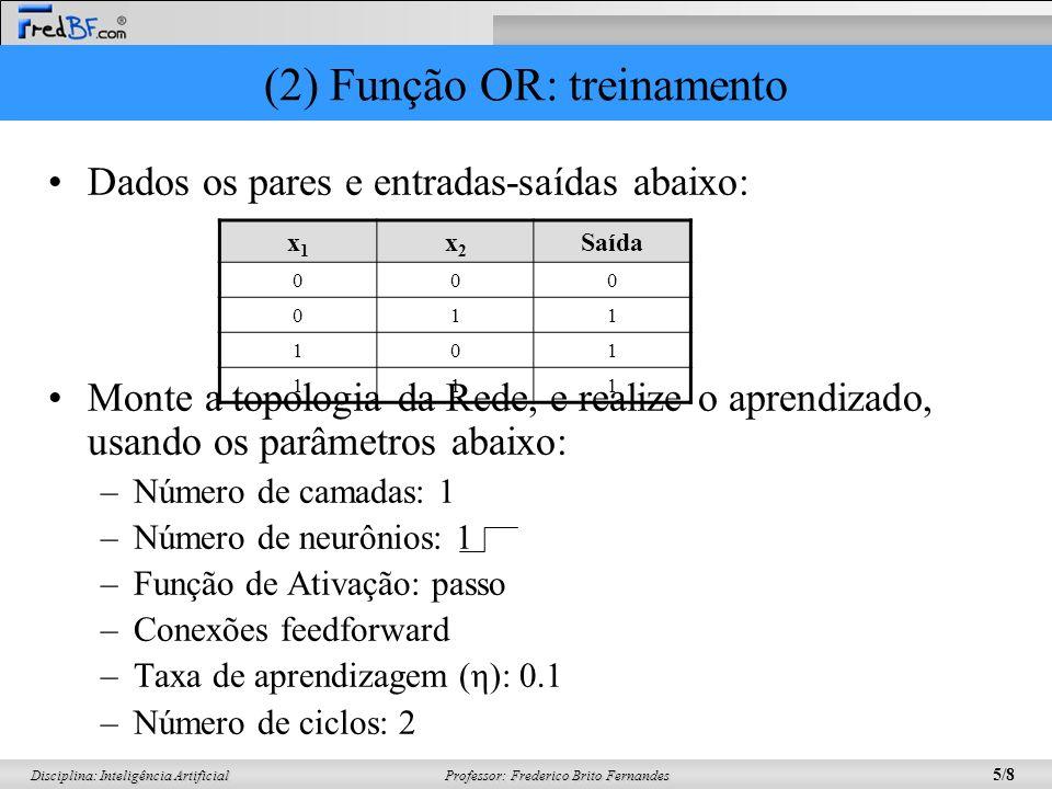 (2) Função OR: treinamento