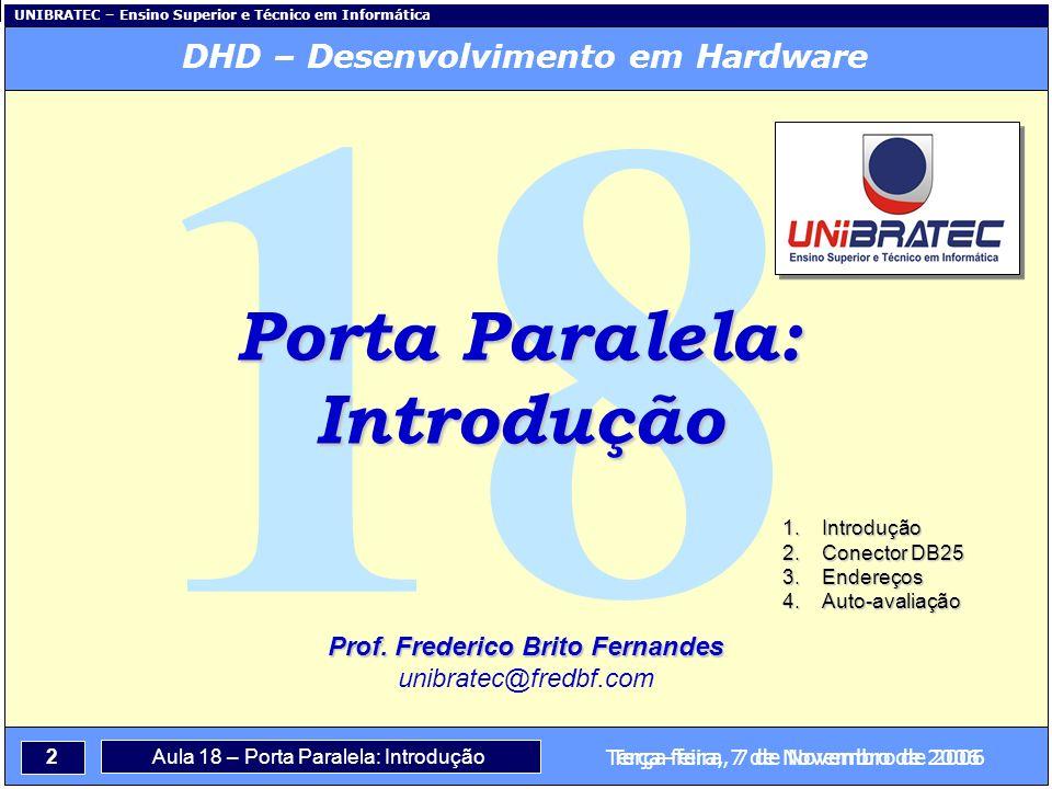 DHD – Desenvolvimento em Hardware Prof. Frederico Brito Fernandes