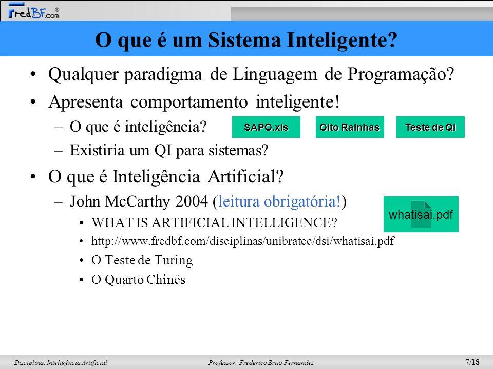 O que é um Sistema Inteligente
