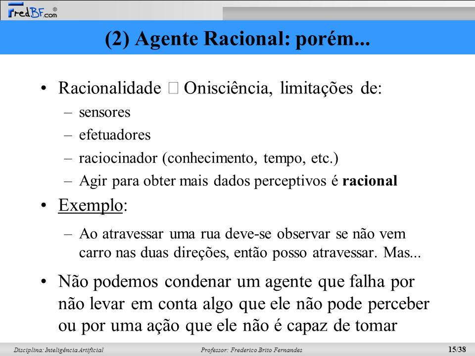 (2) Agente Racional: porém...