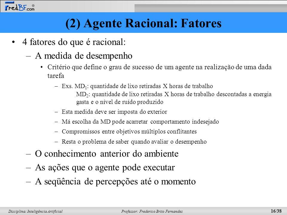 (2) Agente Racional: Fatores
