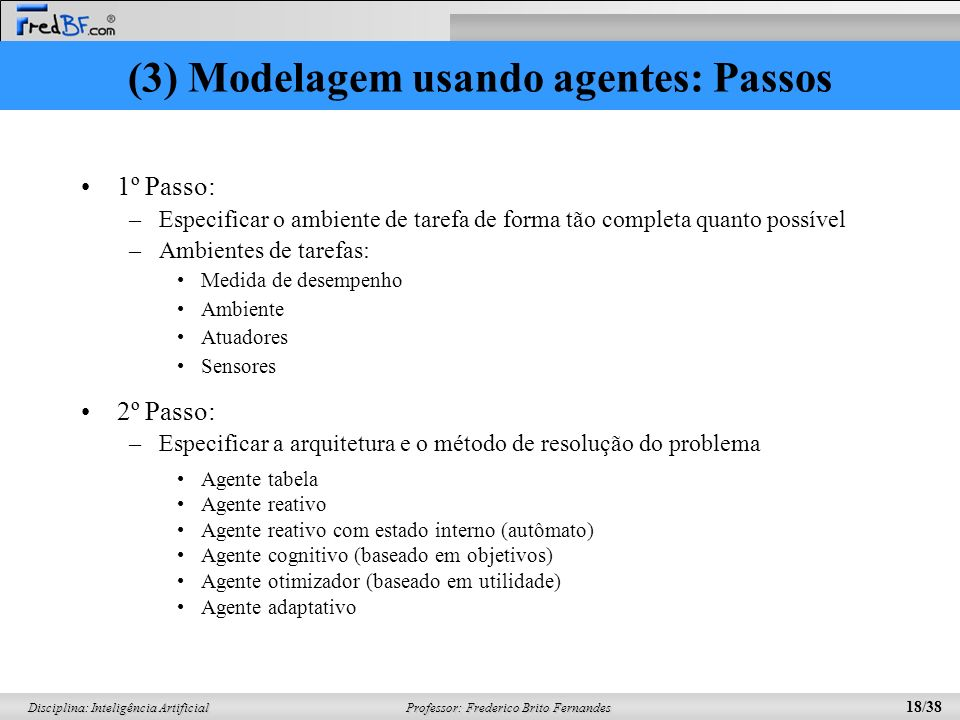 (3) Modelagem usando agentes: Passos