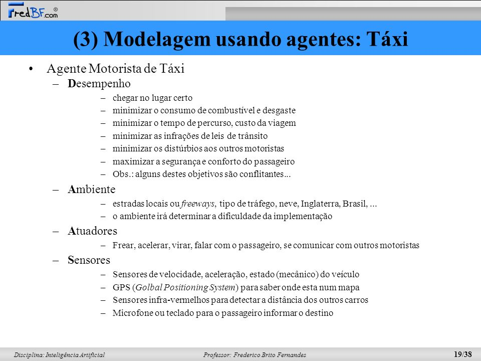(3) Modelagem usando agentes: Táxi