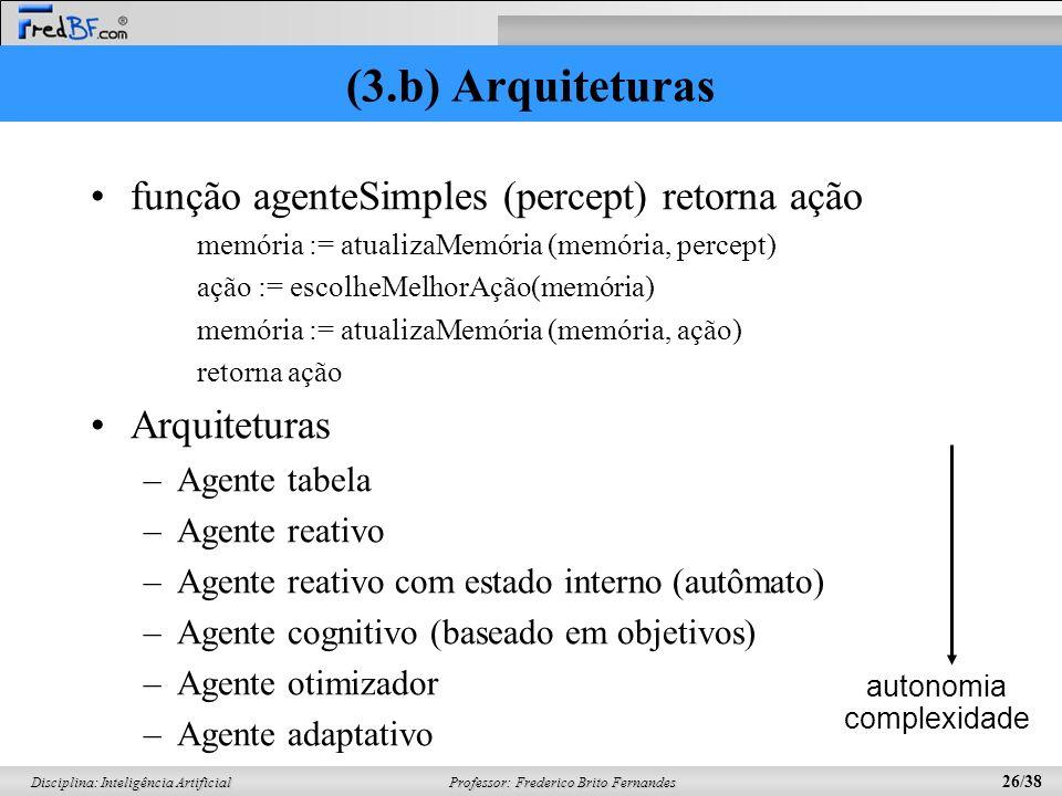 (3.b) Arquiteturas função agenteSimples (percept) retorna ação