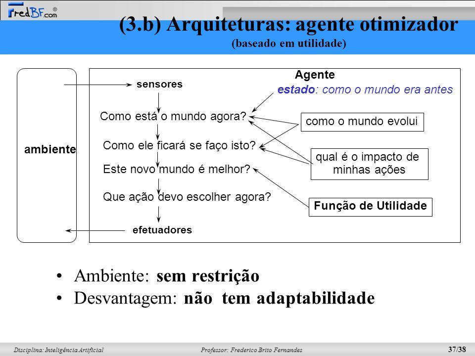 (3.b) Arquiteturas: agente otimizador (baseado em utilidade)