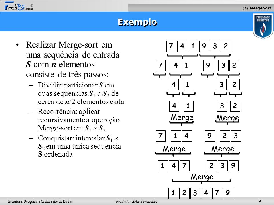(3) MergeSort Exemplo. Realizar Merge-sort em uma sequência de entrada S com n elementos consiste de três passos: