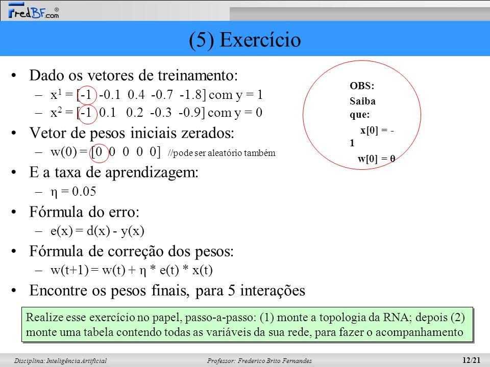 (5) Exercício Dado os vetores de treinamento:
