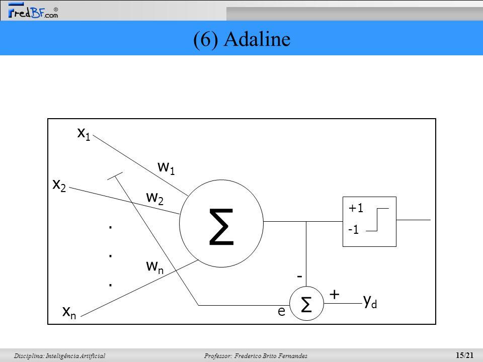 (6) Adaline ∑ +1 -1 . w1 w2 wn x1 x2 xn ℮ yd - +