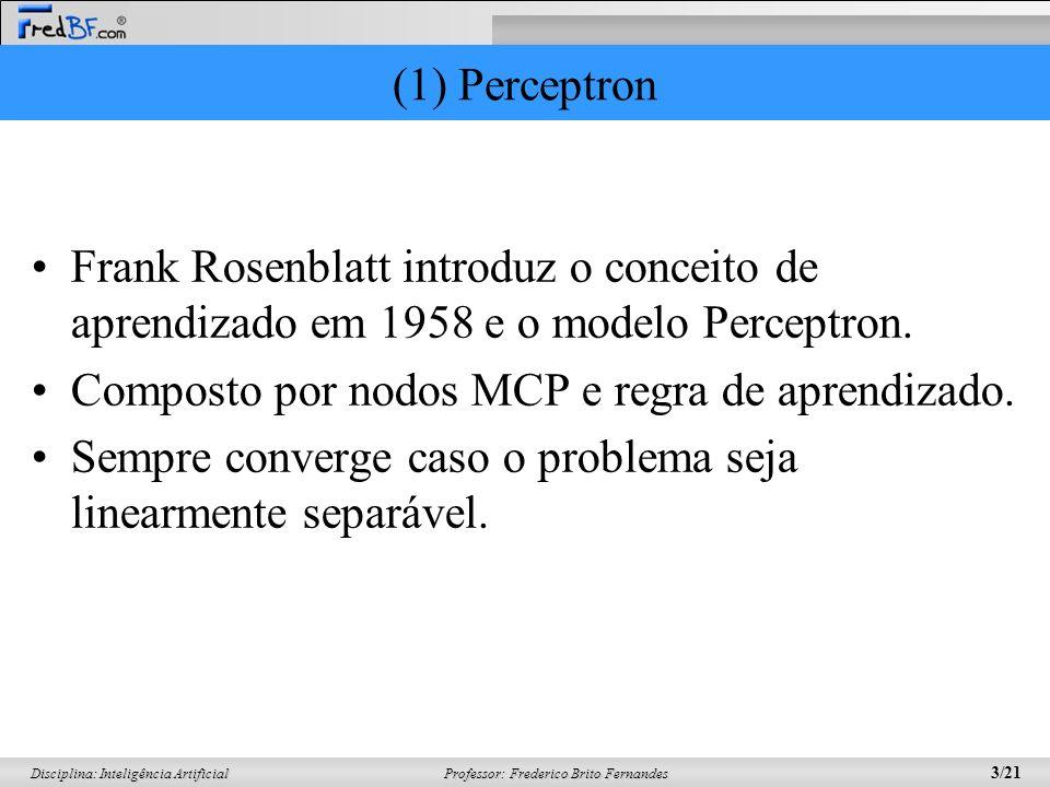 (1) PerceptronFrank Rosenblatt introduz o conceito de aprendizado em 1958 e o modelo Perceptron. Composto por nodos MCP e regra de aprendizado.