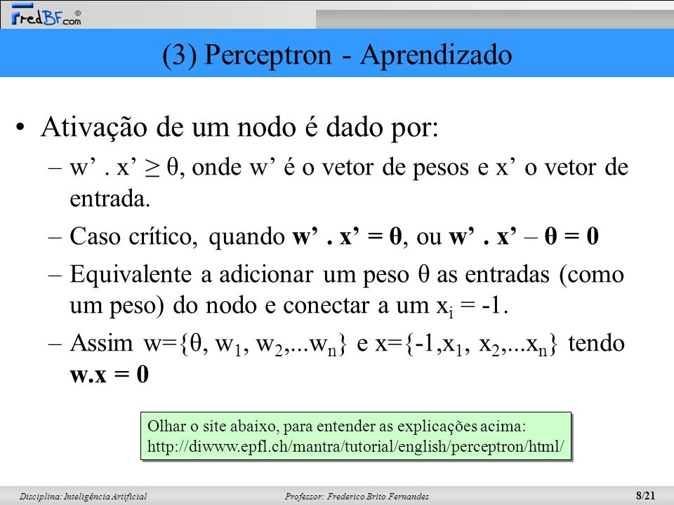 (3) Perceptron - Aprendizado