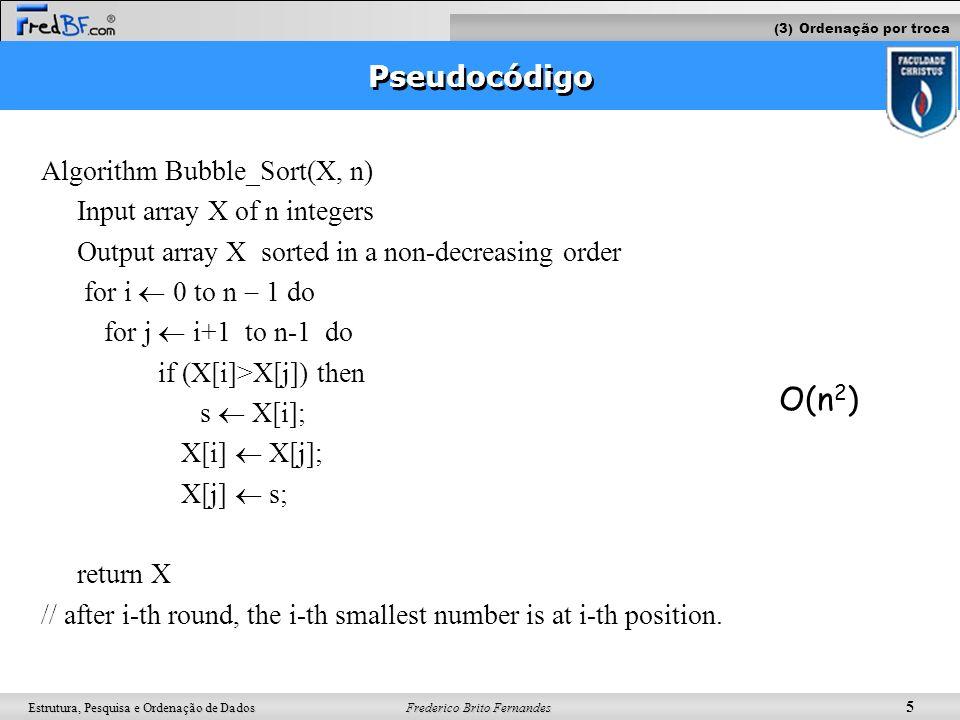 O(n2) Pseudocódigo Algorithm Bubble_Sort(X, n)