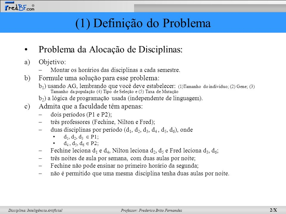 (1) Definição do Problema