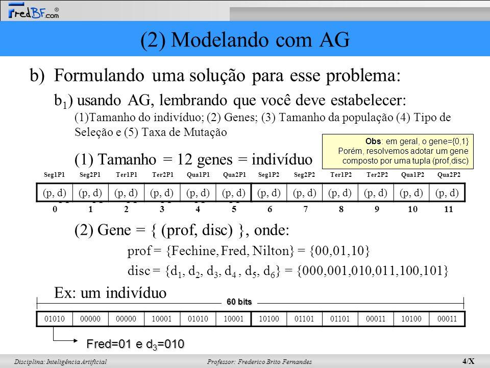 (2) Modelando com AG Formulando uma solução para esse problema: