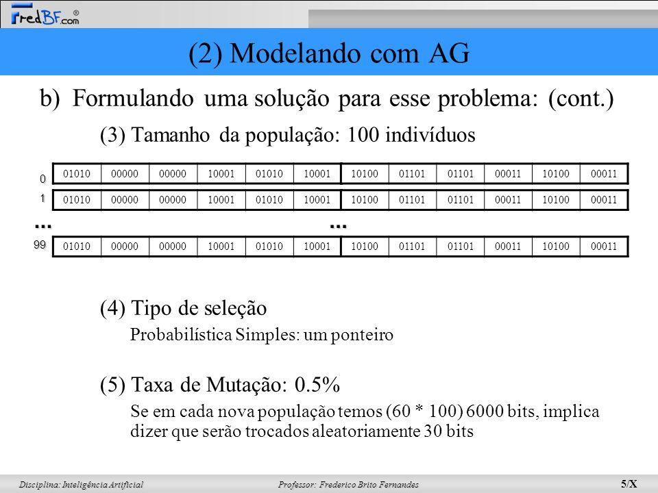 (2) Modelando com AG Formulando uma solução para esse problema: (cont.) (3) Tamanho da população: 100 indivíduos.
