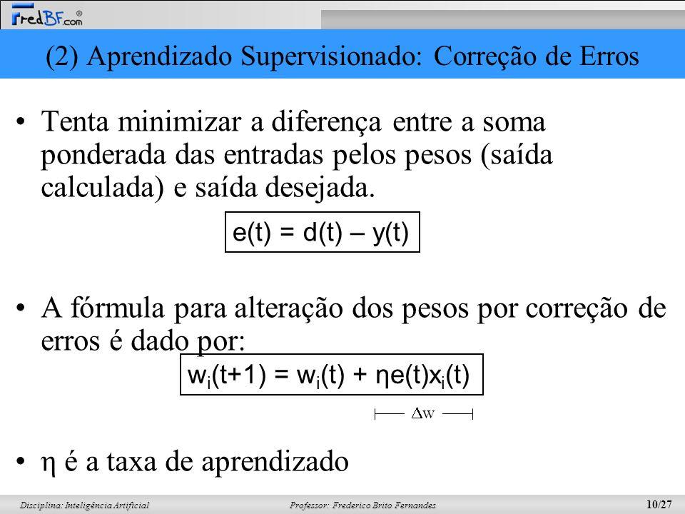 (2) Aprendizado Supervisionado: Correção de Erros