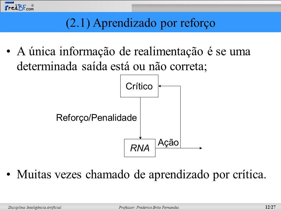 (2.1) Aprendizado por reforço