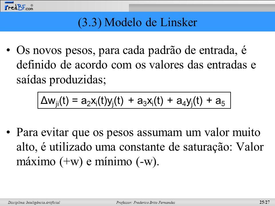 (3.3) Modelo de Linsker Os novos pesos, para cada padrão de entrada, é definido de acordo com os valores das entradas e saídas produzidas;